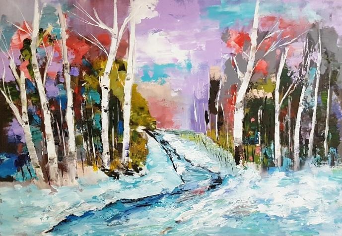 Winter, Zeitgenössische malerei, Schnee, Abstrakte kunst, Landschaft, Acrylmalerei