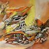 Orange, Zeitgenössisch, Braun, Gemälde