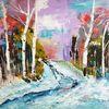 Winter, Abstrakte kunst, Zeitgenössische malerei, Schnee