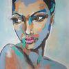 Moderne kunst, Acrylmalerei, Portrait, Zeitgenössische malerei