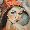 Zeitgenössische malerei, Gesicht, Frau, Acrylmalerei