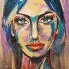 Portrait, Gesicht, Zeitgenössische malerei, Spachteltechnik