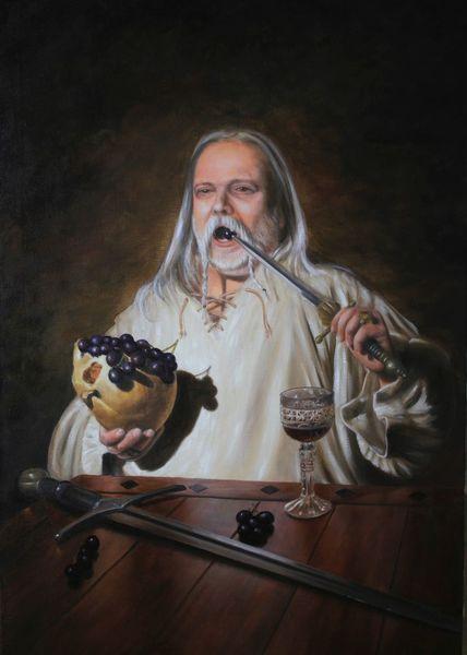 Figural, Malerei, Portrait, Ölmalerei, Bacchus