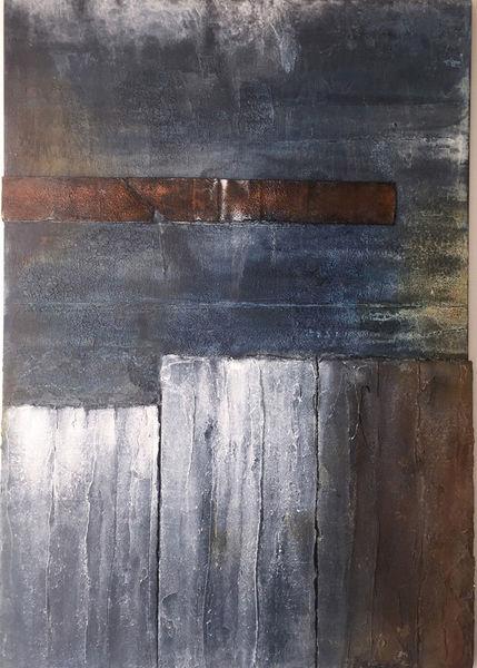Abstrakt, Mischtechnik, Acrylmalerei, Struktur, Blau, Marmormehl
