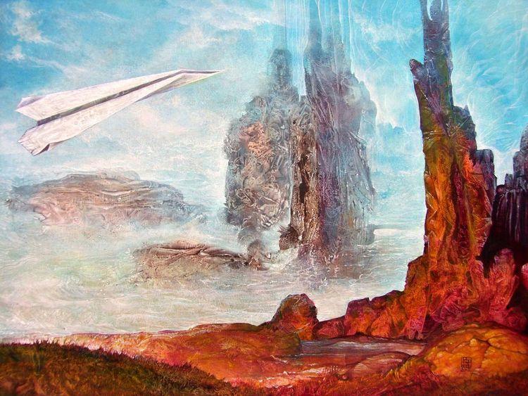 Landschaft, Visionär, Fantasie, Gemälde, Acrylmalerei, Otto rapp