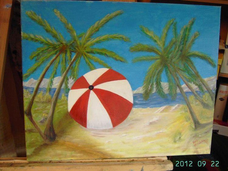 Sonnenschirm, Natur, Palmen, Malerei, Wasser, Strand
