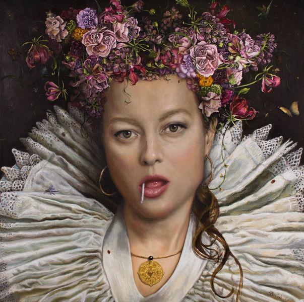 Barock, Portrait, Frau, Blumen, Braun, Lutscher