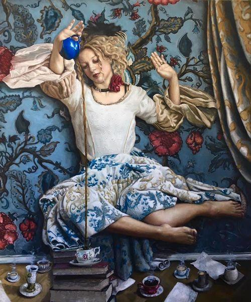 Blau, Portrait, Kaffee, Rose, Malerei, Tapete