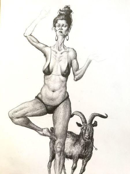 Yoga, Ziegen, Frau, Zeichnung, Zeichnungen,