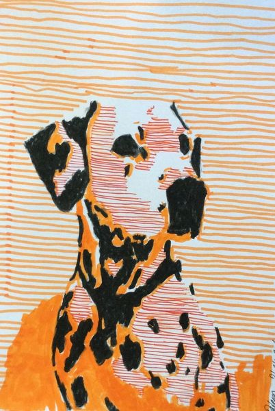 Hund, Portrait, Marker, Dalmatiner, Abstrakt, Illustrationen