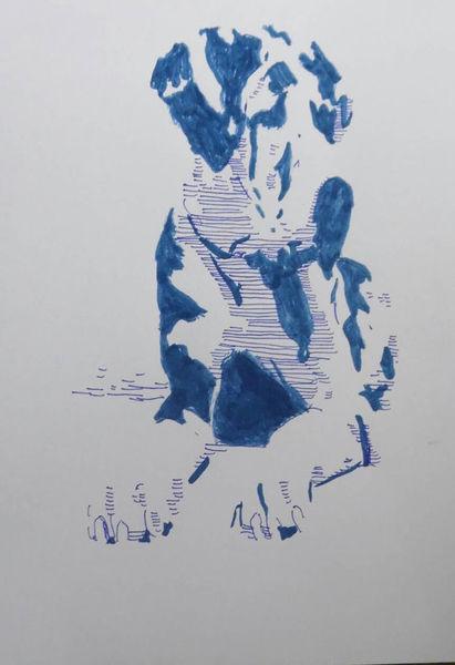 Blau, Marker, Pop art, Portrait, Copic, Zeichnung