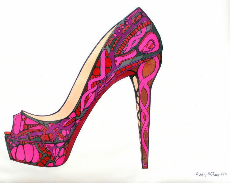 Schuhe, Gebogene formen, Pink violett, Auftragsarbeit, Mischtechnik