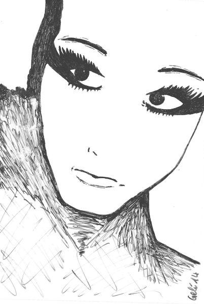 Zeichnung, Portrait, Figural, Frau, Ausdruck, Mischtechnik