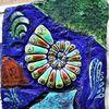 Bunt, Blau, Muschel, Ammonit