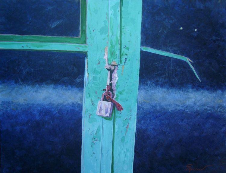 Didgeridoo, Haus, Malerei, Vorhängeschloss, Konzert