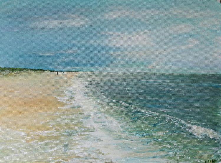 Meer, Strand, Wolken, Dünen, Sturm, Malerei