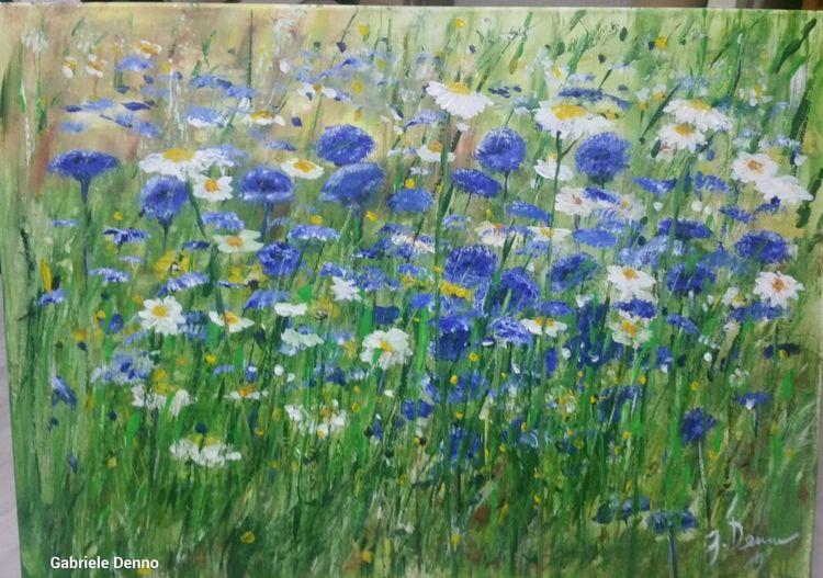 Sehnsucht, Artgallery, Blumen, Blumengarten, Impressionismus, Kornblumen