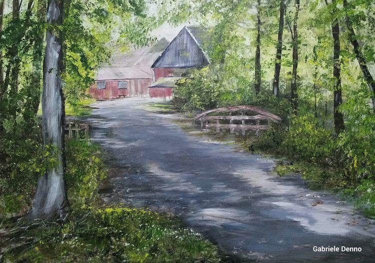 Landschaftsmalerei, Bauernhof, Baum, Landschaft, Sommer, Malerei