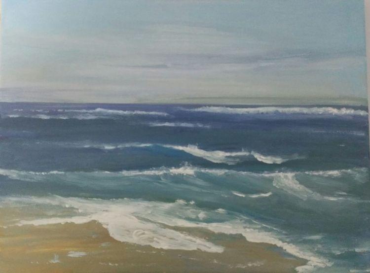 Malerei, Strand, Welle, Meer, Dünen