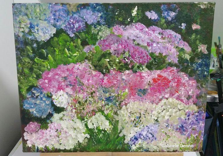 Hortensien, Impressionismus, Blumen, Gemälde, Gabrieledenno, Malerei