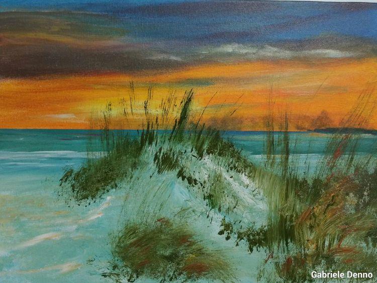Strand, Winter, Meer, Sonnenuntergang, Malerei