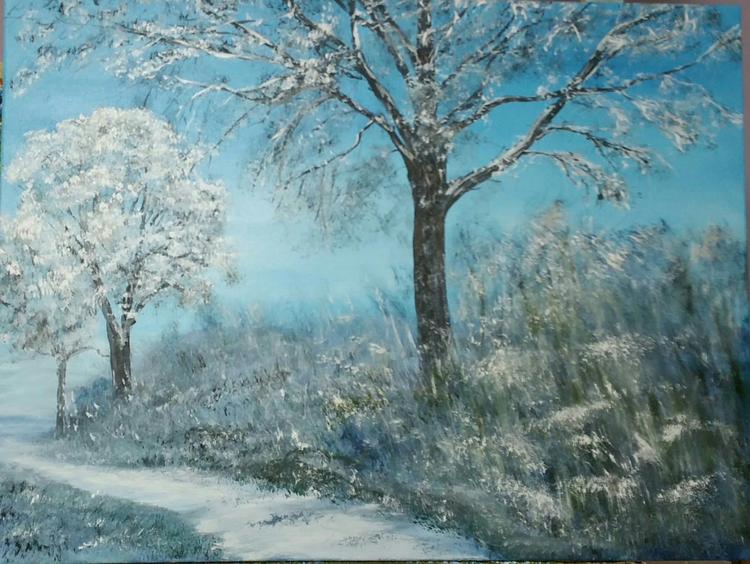 Schnee, Winterlandschaft, Landschaftsmalerei, Winter, Malerei, Landschaft