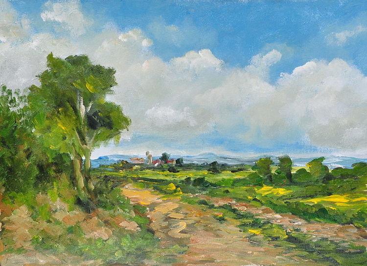 Wolken, Landschaft, Weg, Baum, Himmel, Acrylmalerei