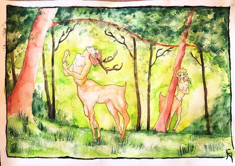 Hirsch, Fantasie, Fabelwesen, Laub, Wald, Fantasiewesen