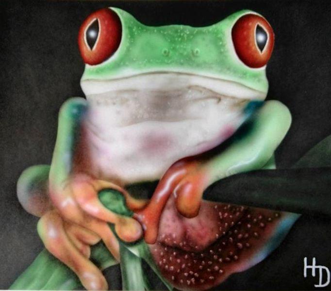 Frosch, Tierportrait, Airbrush, Malerei