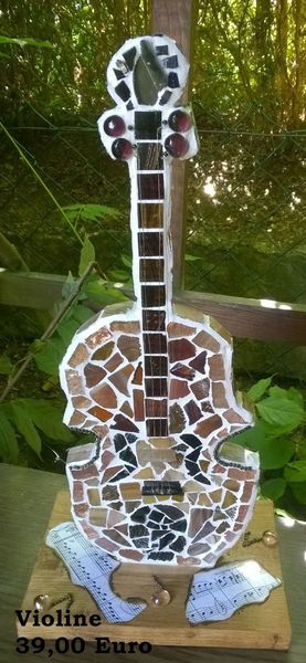 Violine, Mosaik, Holz, Kunsthandwerk
