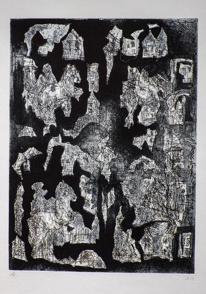 Abstrakt, Radierung, Fragment, Druckgrafik