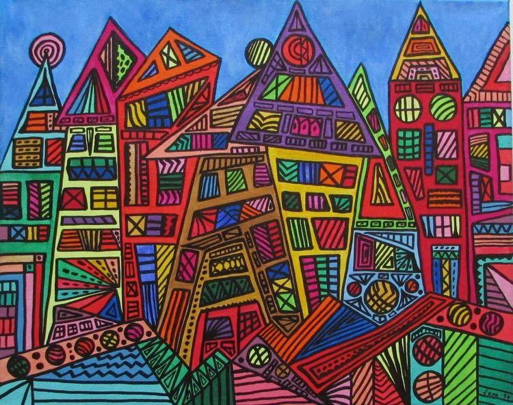 Acrylmalerei, Stadt, Zeitgenössisch, Malerei, Moderne kunst, Bunt