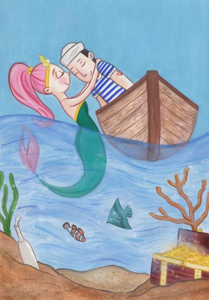 Mädchen, Illustration, Charakter, Photoshop, Kinderbuch, Meerjungfrau