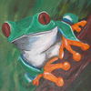 Rotaugenfrosch, Tiere, Grün, Malerei