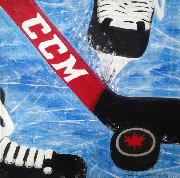 Schlittschuh, Eishockey, Acrylmalerei, Eis, Sport, Malerei