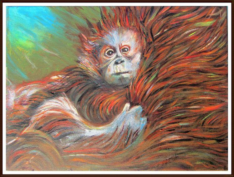 Monkey child, Natur, Acrylmalerei, Im mutterpelz, In mother fur, Ölmalerei