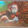 Tiere, Acrylmalerei, Natur, Monkey child