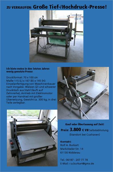 Kuperdruckpresse, Linoldruckpresse, Radierpresse, Presse mit elektroantrieb