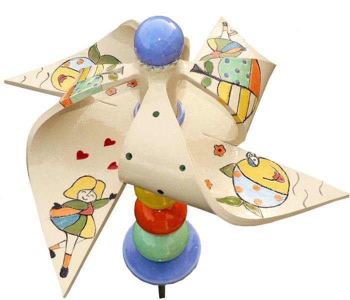 Windrad, Garten, Keramik, Komplett, Spielen, Windspiel