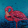 Rosa, Flamingo, Blau, Malerei