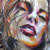 Mischtechnik, Rot, Acrylmalerei, Eine sinnliche frau