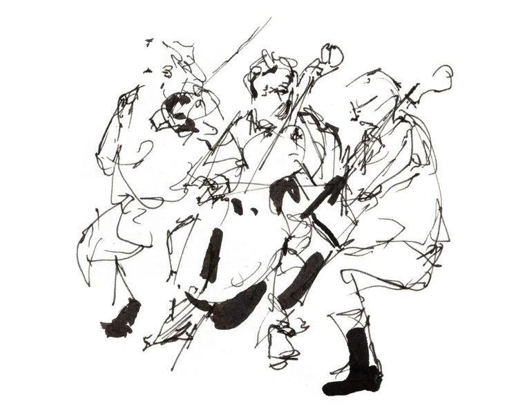 Tuschmalerei, Orchester, Bleistiftzeichnung, Probe, Malen zur musik, Geige