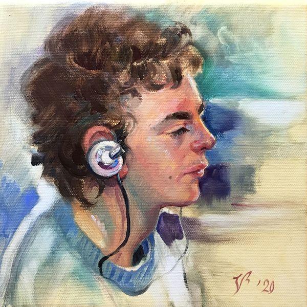 Profil, Junge, Portrait, Menschen, Malerei