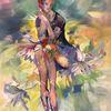 Ballerina, Ölmalerei, Mädchen, Lilien