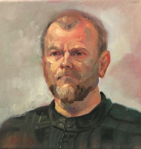Portrait, Mann, Ölmalerei, Malerei