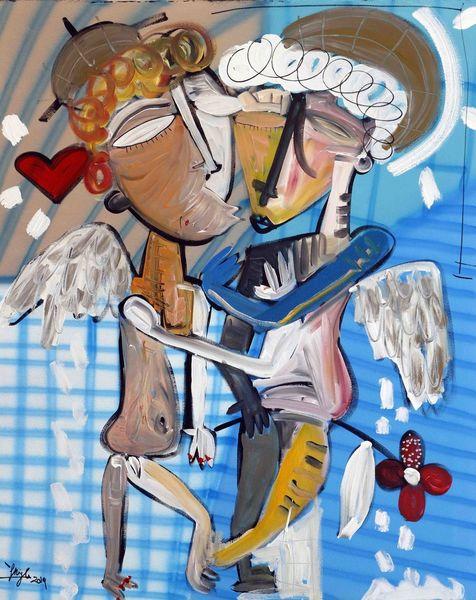 Abstrakt, Kubismus, Umarmung, Mischtechnik auf leinwand, Acrylmalerei, Engel