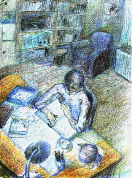 Mann, Zimmer, Briefmarken, Einsamkeit, Sammeln, Buntstiftzeichnung