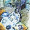 Sammeln, Buntstiftzeichnung, Menschen, Schreibtisch