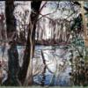 Gestrüp, Pastellmalerei, Kulturlandschaft, Rheinarm