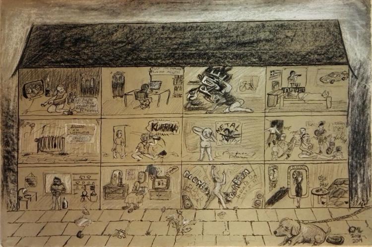 Zusammenleben, Zeichnung, Wohnen, Karikatur, Armut, Zeichnungen